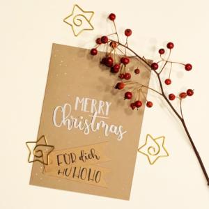 Weihnachtskarte mit Handlettering Brushlettering